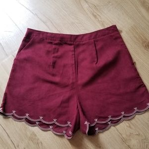 Suede scalloped edge high waisted shorts
